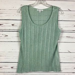 St John Light Green Metallic Semi-Sheer Top S